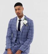 Asos Design DESIGN Tall wedding super skinny suit jacket in blue wool blend check