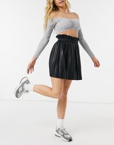 Thumbnail for your product : Parisian pleated PU mini skirt in black