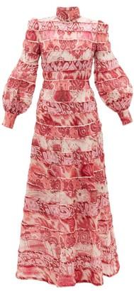 Zimmermann Wavelength Tiered Linen-blend Maxi Dress - Womens - Pink Multi