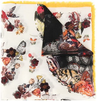 Alexander McQueen Butterfly-Print Fringed Scarf