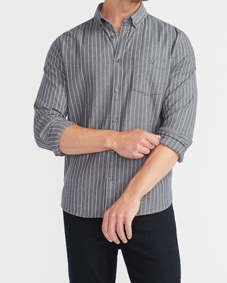Express Slim Striped Stretch Flannel Shirt