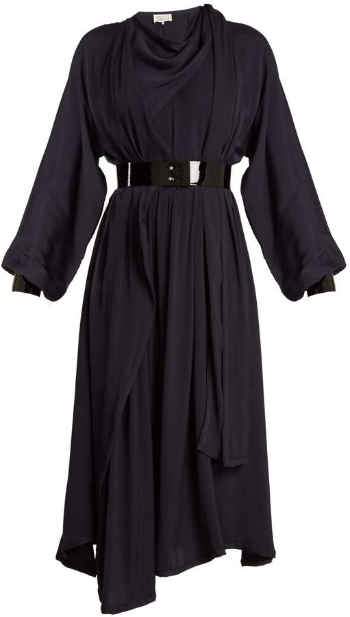 Maison Margiela Asymmetric draped crepe-back satin dress
