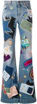 Roberto Cavalli patchwork flared jeans - women - Cotton/Spandex/Elastane - 40