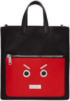 Fendi Black and Red Faces Tote