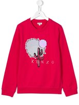 Kenzo embellished cactus embroidered sweatshirt - kids - Cotton/Viscose - 14 yrs