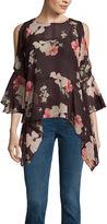 Buffalo David Bitton 3.4 Sleeve Floral Ruffle Cold Shoulder Top
