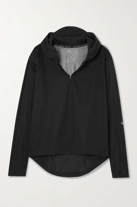 Nike Shield Run Division Hooded Paneled Shell And Jersey Top - Black