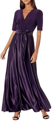 Alex Evenings Tea Length Surplice Neckline Dress with Tie Waist (Eggplant) Women's Dress