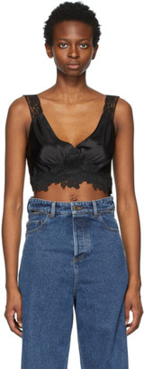 Paco Rabanne Black Satin and Lace Crop Camisole