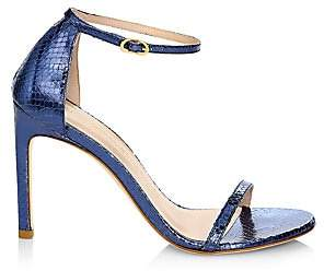Stuart Weitzman Women's Nudistsong Ankle-Strap Metallic Snakeskin-Embossed Leather Sandals