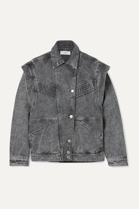 Etoile Isabel Marant Harmon Oversized Convertible Acid-wash Denim Jacket - Gray