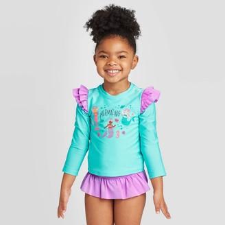 Cat & Jack Toddler Girls' Mermaid Long Sleeve Rash Guard Swimsuit - Cat & JackTM