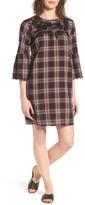 Caslon R) Bell Sleeve Plaid Shift Dress