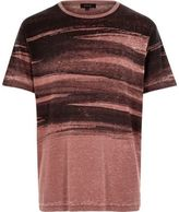 River Island MensRed brush stroke print t-shirt