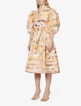 Stine Goya Belinda abstract-pattern organza midi dress