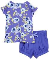 Isaac Mizrahi Pansy Floral Ruffle Sleeve Shirt & Short Set (Baby Girls 12-24M)
