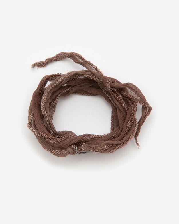 Momentz Monte-carlo Silk Ribbon Peace Charm Wrap Bracelet