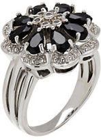 Finecraft Ii Onyx Sterling Silver Flower Ring
