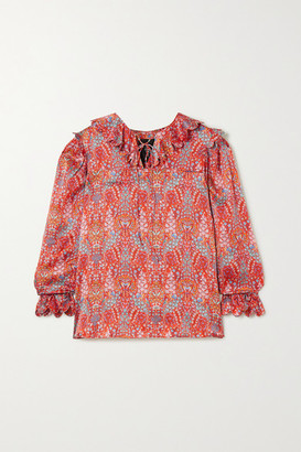 Horror Vacui Cleo Lace-up Scalloped Floral-print Silk Blouse - Red