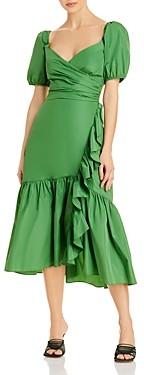 Cinq à Sept Megan Ruffled Puff Sleeve Midi Dress