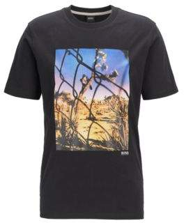 Crew-neck T-shirt in washed cotton with photographic print