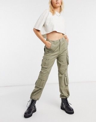 Signature 8 stretch high waisted cargo pants in khaki