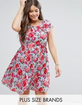 Koko Plus Skater Dress With Frill Sleeves In Floral Print
