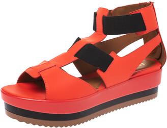 Fendi Red/Black Leather And Elastic Platform Wedge Sandals Size 37.5
