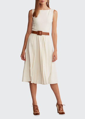 Ralph Lauren Collection Rhona Boat-Neck Pleated Crepe Midi Dress