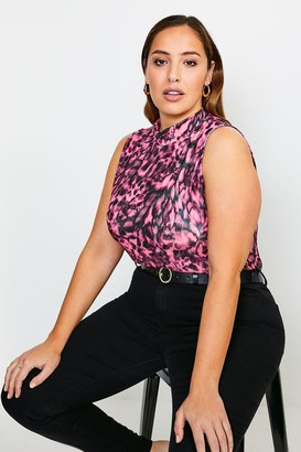 Karen Millen Curve Sleeveless Funnel Neck Printed Top