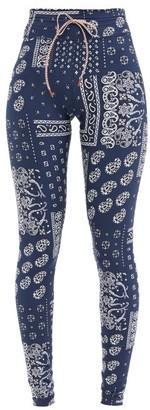 The Upside Bandana Paisley-print Stretch-jersey Leggings - Blue White