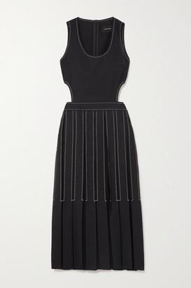 Low Classic Cutout Pleated Wool-twill Midi Dress - Navy