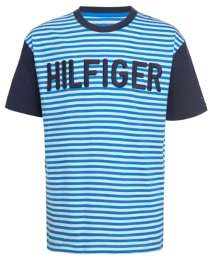 Tommy Hilfiger Big Boys Mark Colorblocked Stripe Embroidered Logo T-Shirt
