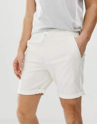 Asos Design DESIGN slim chino shorts with elastic waist in off white