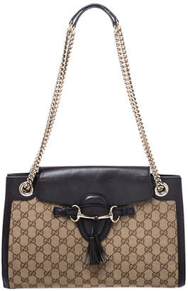 Gucci Dark Brown/Beige GG Canvas and Large Emily Chain Shoulder Bag