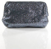 J.Crew J Crew Blue Leather Magnet Closure Sparkly 2 Pocket Clutch Size Small