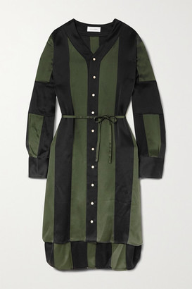 Wales Bonner Genius Striped Satin Dress - Dark green