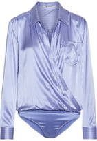 Alexander Wang Wrap-effect Silk-charmeuse And Stretch-jersey Bodysuit - Light blue
