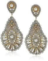 Miguel Ases Large Pear Shaped Swarovski Drop Post Earrings