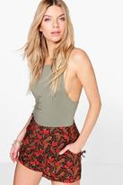 Boohoo Mia Floral Print Tie Side Shorts