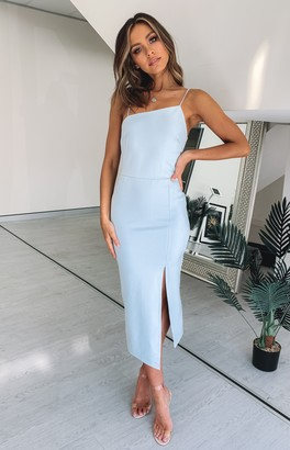 Beginning Boutique Cecilia Bodycon Midi Dress Blue