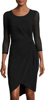 T Tahari Robin Ruched 3/4-Sleeve Jersey Dress, Black