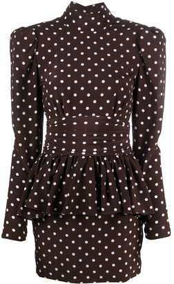 Alessandra Rich Polka Dot Peplum-Waist Mini Dress