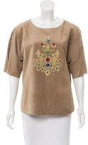 Camilla Embellished Suede Top w/ Tags