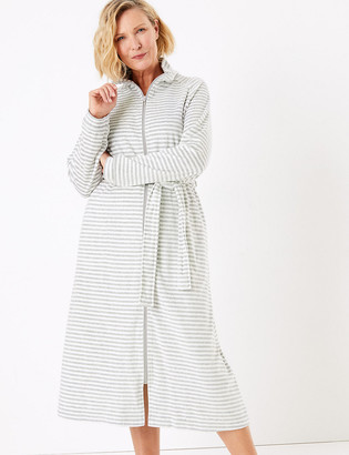 Marks and Spencer Velour Striped Long Dressing Gown