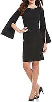 Calvin Klein Split Bell-Sleeve Sheath Dress
