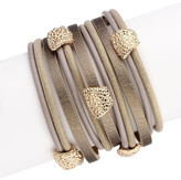 Saachi Gold Metallic Allure Leather Bracelet