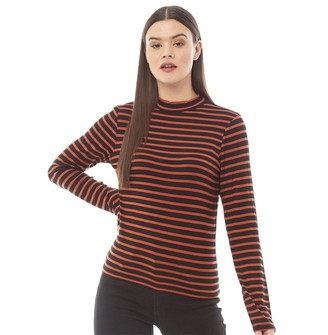 Brave Soul Womens Orion Striped Long Sleeve Top Rust/Black