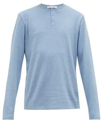 Frame Long-sleeved Cotton-jersey Henley Top - Mens - Light Blue