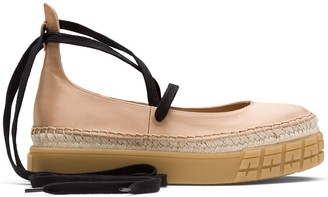 Prada Satin Platform Ballerina Shoes